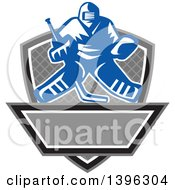 Clipart Of A Retro Blue And White Ice Hockey Goalie Over A Net Shield And Banner Royalty Free Vector Illustration