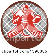 Clipart Of A Retro Red And White Ice Hockey Goalie Over A Net In A Brown And Gray Circle Royalty Free Vector Illustration