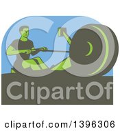 Clipart Of A Retro Green Man Working Out On A Rowing Machine Over Blue Royalty Free Vector Illustration