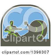 Clipart Of A Retro Green Man Working Out On A Rowing Machine In A Half Circle Royalty Free Vector Illustration