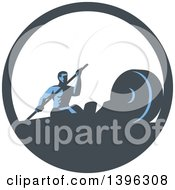 Clipart Of A Retro Man Working Out With A Paddle On A Rowing Machine In A Blue And White Circle Royalty Free Vector Illustration by patrimonio