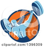 Retro Male Bodybuilder Swinging A Barbell In A Blue And Orange Circle