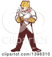 Clipart Of A Cartoon Refrigeration And Air Conditioning Mechanic Or Plumber Cheetah Holding A Pressure Temperature Gauge And Monkey Wrench Royalty Free Vector Illustration