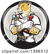 Clipart Of A Cartoon Refrigeration And Air Conditioning Mechanic Or Plumber Cheetah Holding A Pressure Temperature Gauge And Monkey Wrench In A Black White And Taupe Circle Royalty Free Vector Illustration by patrimonio