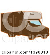 Clipart Of A Retro Brown Camper Van RV With An Orange Outline Royalty Free Vector Illustration