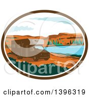 Clipart Of A Retro Brown Camper Van RV In A Desert Landscape Within An Oval Royalty Free Vector Illustration