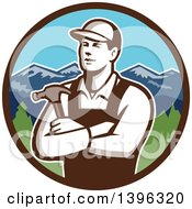 Retro Male Carpenter With Folded Arms Holding A Hammer In A Circle Of Mountains