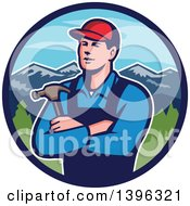 Retro Male Caucasian Carpenter With Folded Arms Holding A Hammer In A Circle Of Mountains
