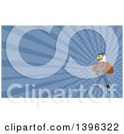 Clipart Of A Cartoon Bald Eagle Plumber Man Holding A Plunger And Blue Rays Background Or Business Card Design Royalty Free Illustration
