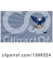 Flying American Bald Eagle Holding A Scale With Earth And Money And Blue Rays Background Or Business Card Design