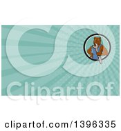 Cartoon Bulldog Man Mechanic Holding A Wrench And Turquoise Rays Background Or Business Card Design