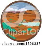 Clipart Of A Retro Desert Landscape Scene In A Circle Royalty Free Vector Illustration