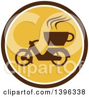 Clipart Of A Retro Coffee Moped In A Brown White And Yellow Circle Royalty Free Vector Illustration