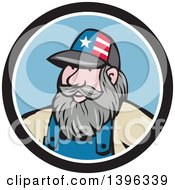 Cartoon Chubby White Male Hillbilly Wearing A Patriotic Hat In A Black White And Blue Circle