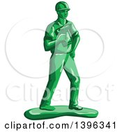 Clipart Of A Retro Green Toy Construction Worker Holding A Nail Gun Royalty Free Vector Illustration