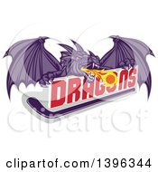 Clipart Of A Retro Purple Fire Breathing Dragon And A Ball Over Text And Hockey Stick Royalty Free Vector Illustration
