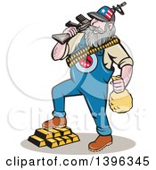 Cartoon Chubby White Male Hillbilly Wearing A Patriotic Hat Holding A Rifle And Money Bag Stepping On Gold Bars