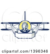 Clipart Of A Retro World War One Male Pilot Aviator Looking Up Over A Wing Banner And Biplane Royalty Free Vector Illustration by patrimonio