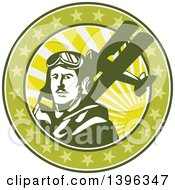 Clipart Of A Retro World War One Male Pilot Aviator And Spad Biplane On A Green Cricle With Stars And Sunshine Royalty Free Vector Illustration