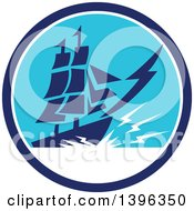 Clipart Of A Retro Galleon Ship With Lightning In A Blue And White Circle Royalty Free Vector Illustration