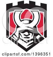 Retro Samurai Mask In A Black White And Red Shield