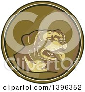 Clipart Of A Retro Gold Medallion Of A Rottweiler Dog Royalty Free Vector Illustration by patrimonio