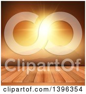 Clipart Of A Bright Orange Mountainous Sunset With A 3d Deck Royalty Free Illustration