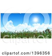 Clipart Of A Background Of 3d Cattail Brush Against Blue Sky With Clouds Royalty Free Illustration by KJ Pargeter