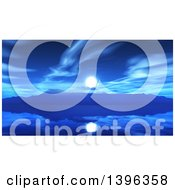 Clipart Of A 3d Misty Island At Night With Reflections On Still Water Royalty Free Illustration