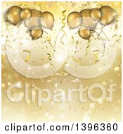 Clipart Of A Background Of Confetti Flares And 3d Golden Party Balloons Royalty Free Illustration by KJ Pargeter