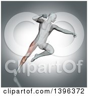 Clipart Of A 3d Anatomical Man Fighting And Jumping With Visible Leg Muscles On Gray Royalty Free Illustration