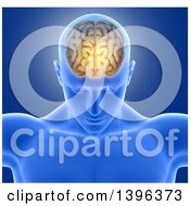 Clipart Of A 3d Xrayed Anatomical Man With Visible Glowing Brain Over Blue Royalty Free Illustration by KJ Pargeter