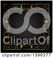 Clipart Of A Vintage Ornate Gold Frame Bordering Black Royalty Free Illustration by KJ Pargeter