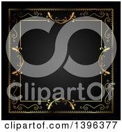 Clipart Of A Vintage Ornate Gold Frame Bordering Black Royalty Free Illustration