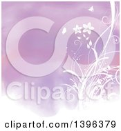 Clipart Of A Purple Watercolor Background With Floral Vines And Butterflies Royalty Free Illustration