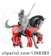 Clipart Of A 3d Full Armored Medieval Knight On A Black Horse Holding A Sword And Shield Royalty Free Vector Illustration