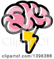 Clipart Of A Pink Brain With A Lightning Bolt Royalty Free Vector Illustration