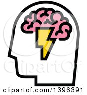 Clipart Of A Mans Head With Visible Pink Brain And Lightning Bolt Royalty Free Vector Illustration by elena