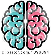 Clipart Of A Turquoise And Pink Brain Royalty Free Vector Illustration