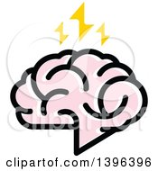 Clipart Of A Pink Brain With Lightning Bolts Royalty Free Vector Illustration by elena