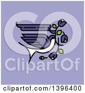Tattoo Design Of A Flying Purple Swallow With Flowers On Purple