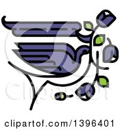 Flat Design Purple And White Swallow Bird Flying With Flowers