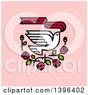 Flying White Dove With Red Roses And A Banner On Pink