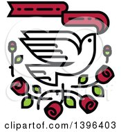 Clipart Of A White Dove Flying With Red Roses And A Banner Royalty Free Vector Illustration