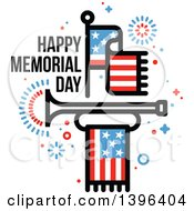 Clipart Of A Happy Memorial Day Greeting With An American Flag Fireworks And Bugle Royalty Free Vector Illustration by elena