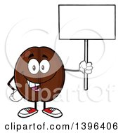 Clipart Of A Cartoon Coffee Bean Mascot Character Holding Up A Blank Sign Royalty Free Vector Illustration
