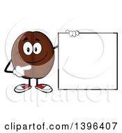 Clipart Of A Cartoon Coffee Bean Mascot Character Pointing To A Blank Sign Royalty Free Vector Illustration