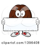 Clipart Of A Cartoon Coffee Bean Mascot Character Holding A Blank Sign Royalty Free Vector Illustration