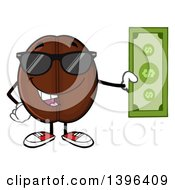 Clipart Of A Cartoon Coffee Bean Mascot Character Wearing Sunglasses And Holding Cash Royalty Free Vector Illustration