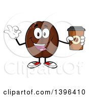 Clipart Of A Cartoon Coffee Bean Mascot Character Holding A Take Out Cup And Gesturing Ok Royalty Free Vector Illustration by Hit Toon